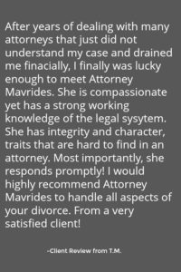 Client review for Boston Divorce lawyers Mavrides Law